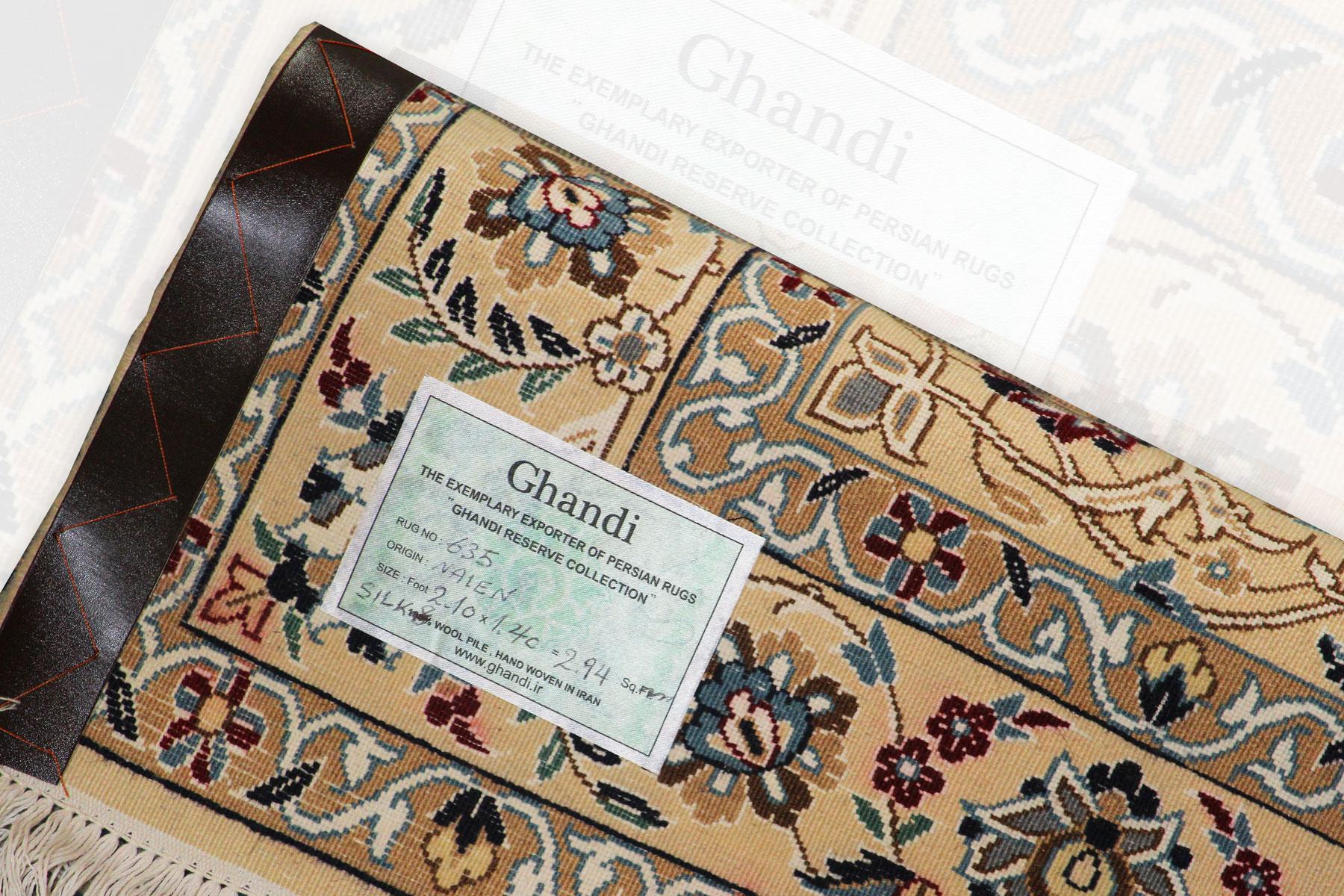 فرش نائین طرح لچک ترنج کرک و ریشه نخ کد635