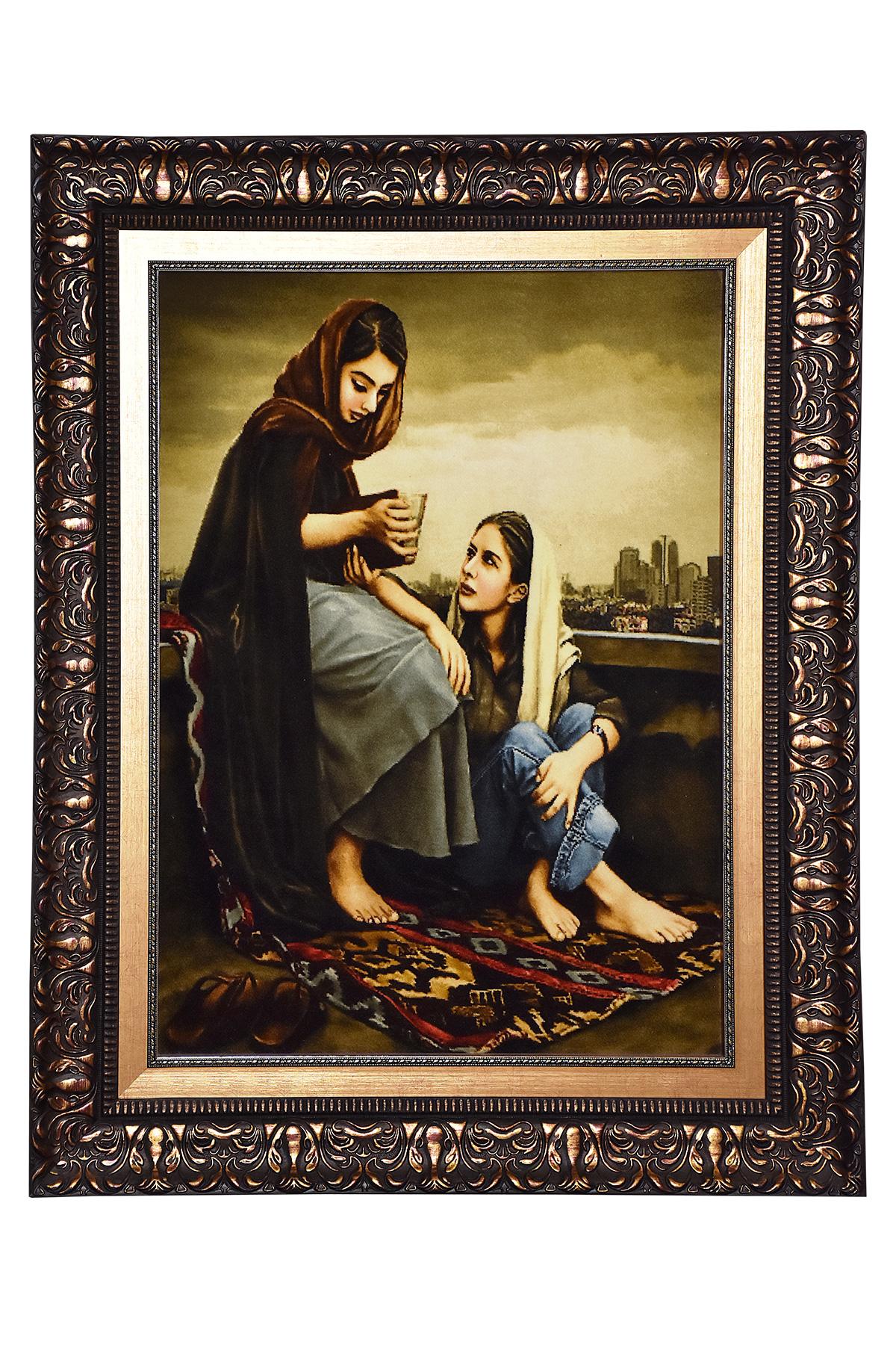 تابلو فرش دستباف دو خواهر و فال حافظ