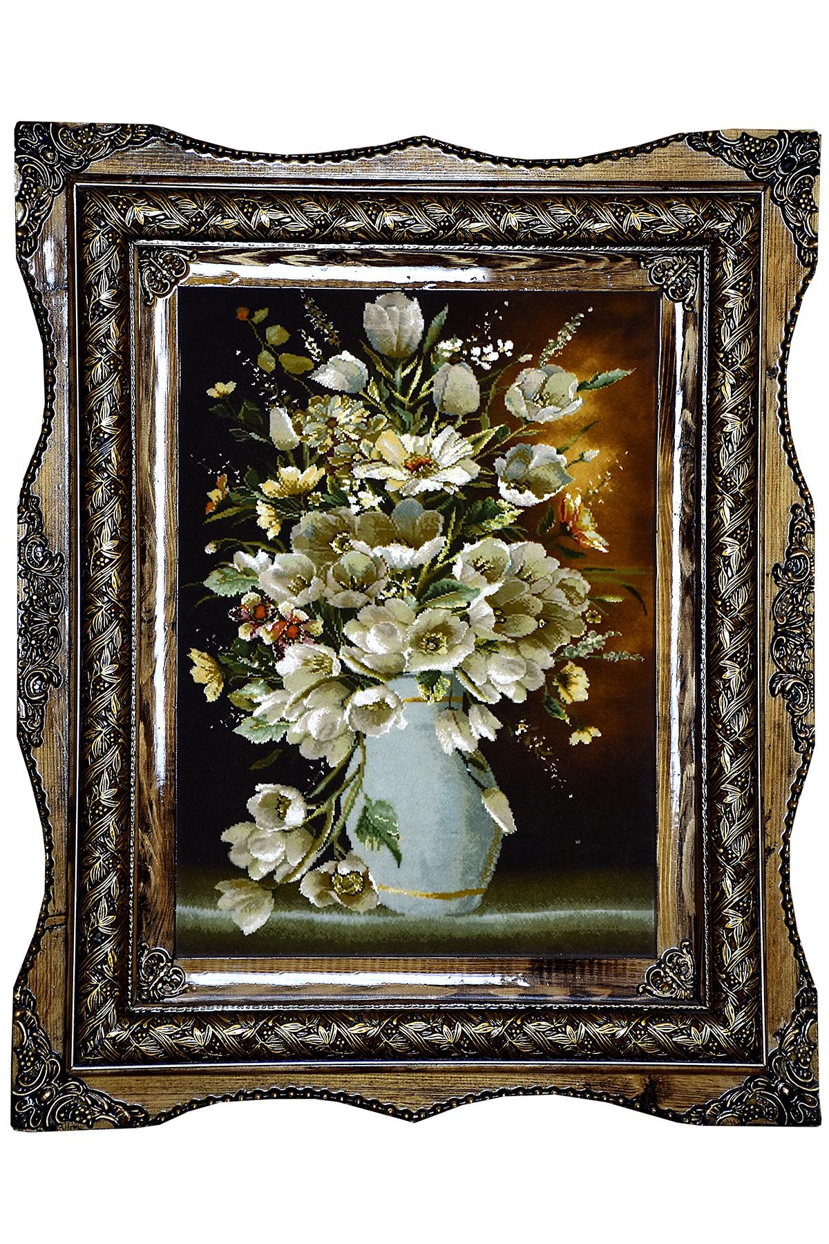 تابلو فرش گلدان گل سفید اثر استاد ابری
