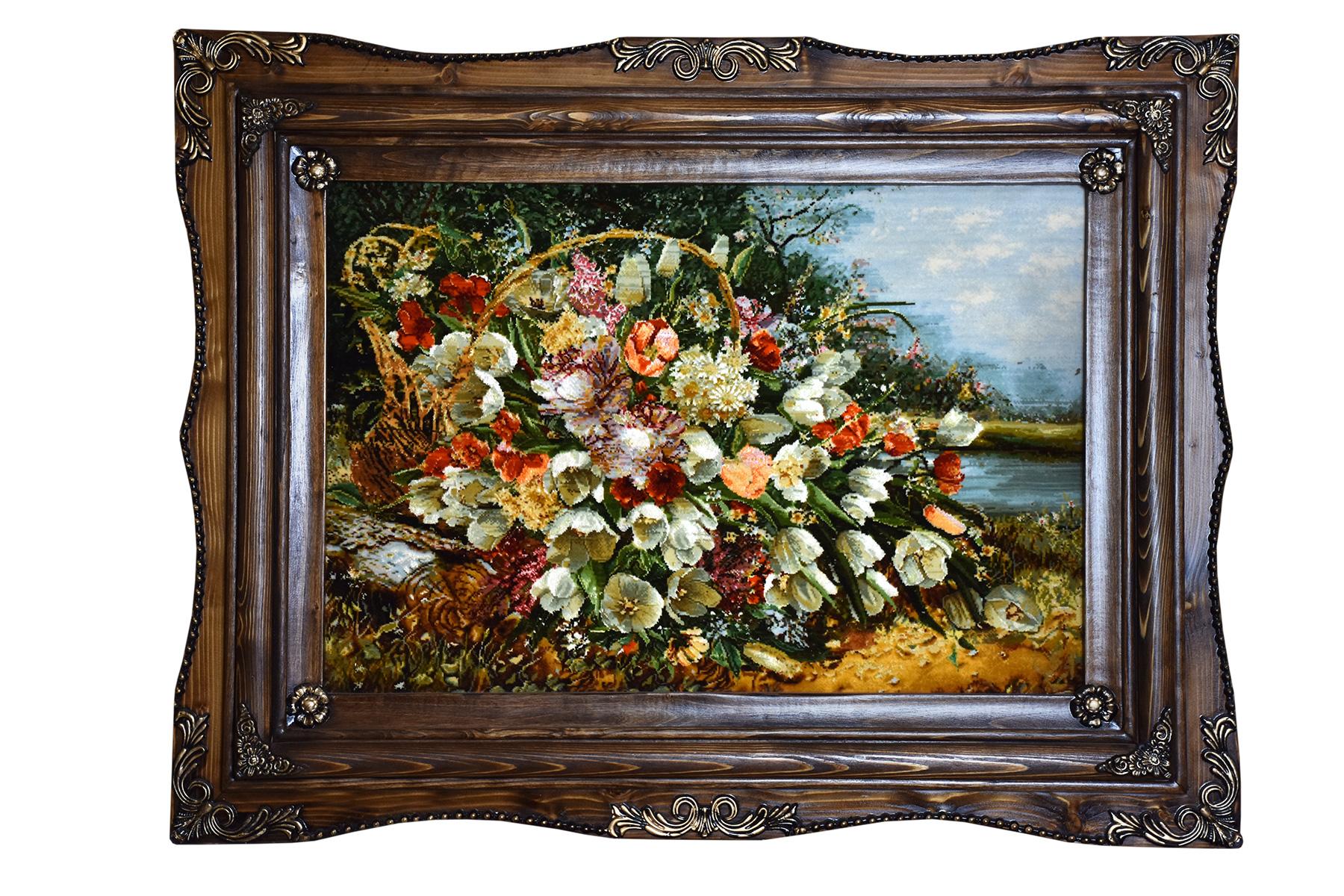 تابلو فرش دستباف سبد گل های رنگارنگ