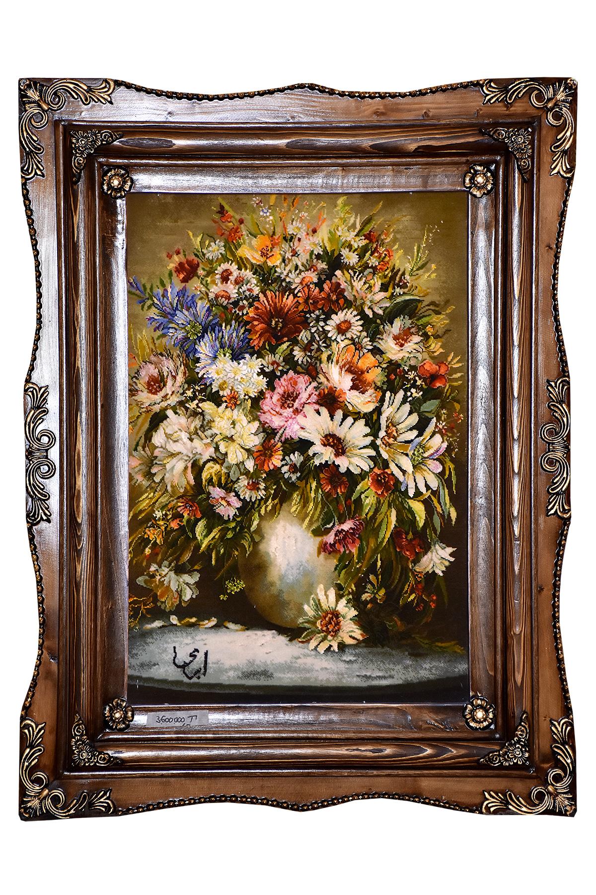 تابلو فرش دستباف گلدان اثر استاد ابری