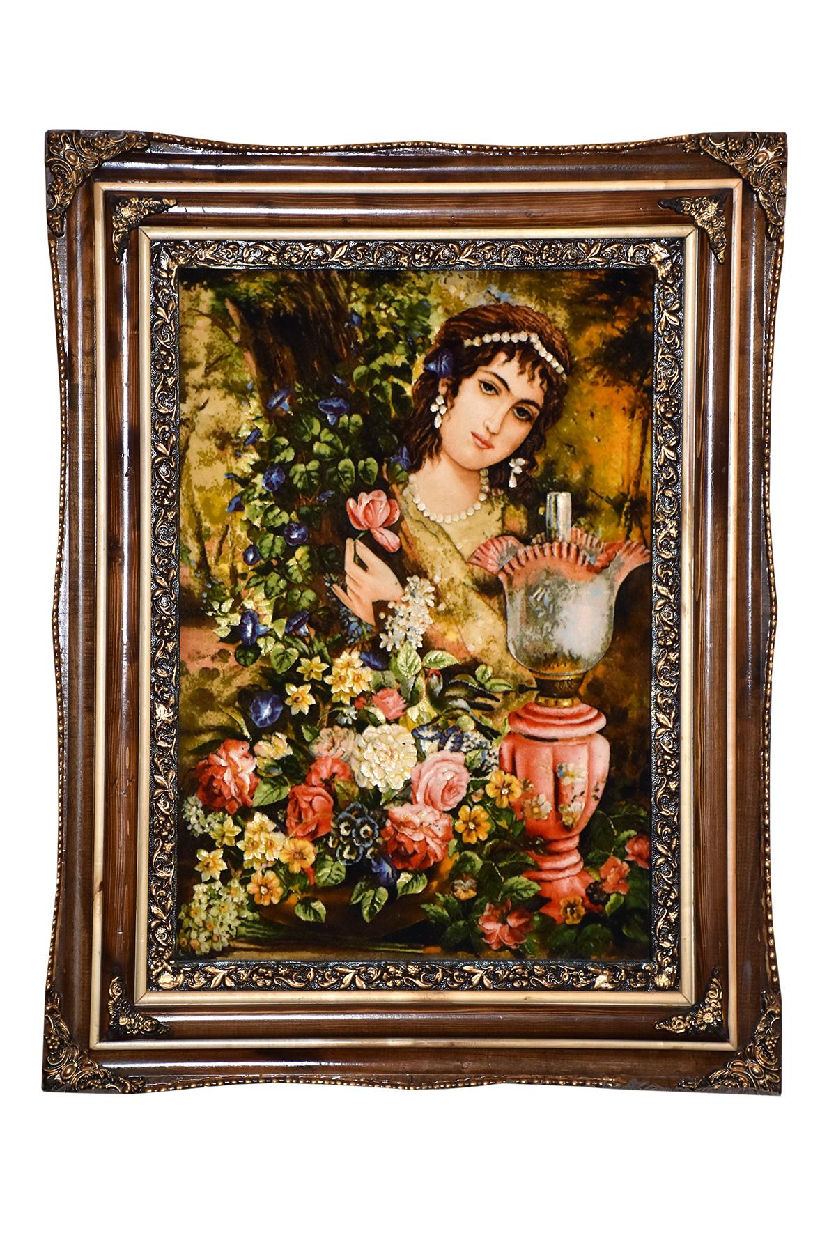 تابلو فرش دستباف دختر قاجار